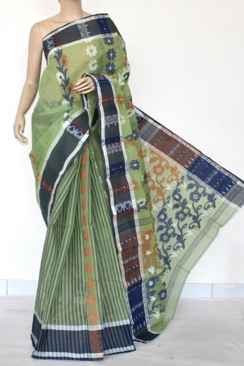 Pista Green Handwoven Bengal Tant Cotton Saree (Without Blouse) 17157