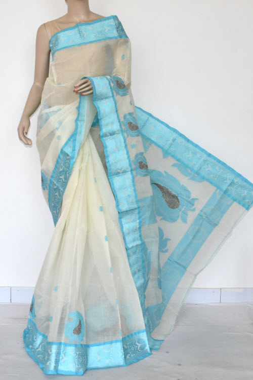 Off White Handwoven Bengal Tant Cotton Saree (Without Blouse) Pherozi Border 17101