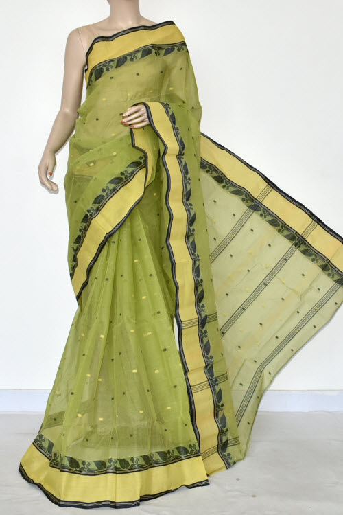 Pista Green Handwoven Bengal Tant Cotton Saree (Without Blouse) Allover Booti 17198