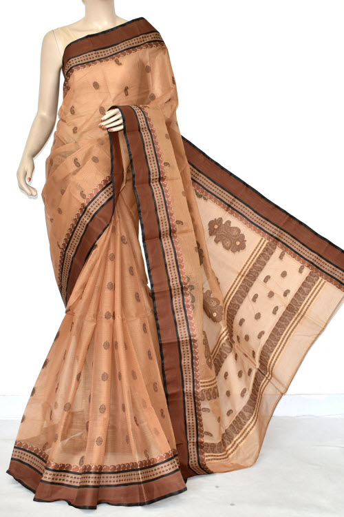 Light Chocolate Handwoven Bengal Tant Cotton Saree (Without Blouse) Allover Booti 17236