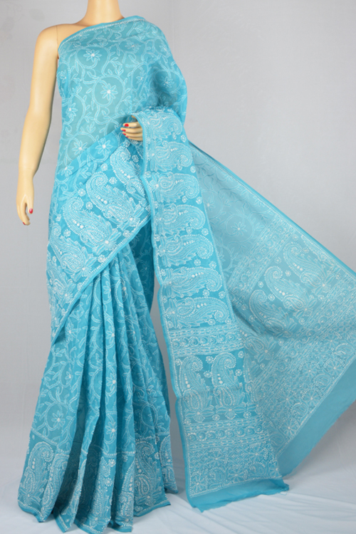 Ferozi Hand Embroidered Lucknowi Chikankari Saree (With Blouse - Cotton) MC250011