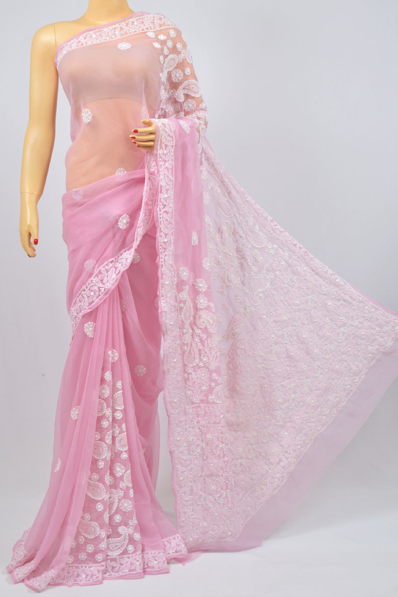 Pink Color Hand Embroidered Lucknowi Chikankari Saree (With Blouse - Georgette) MY980002