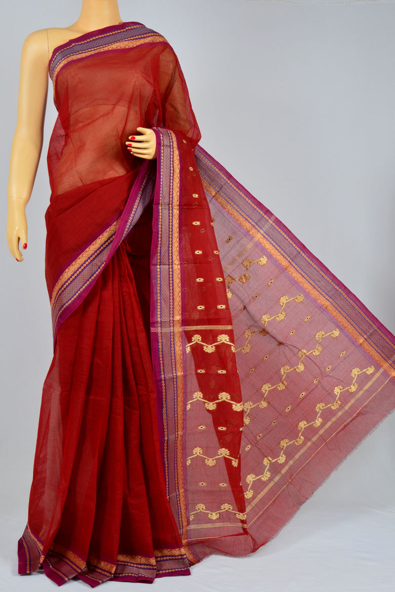 Ruby Color Handwoven Bengal Handloom Cotton Tant Saree (without Blouse) - MC250179