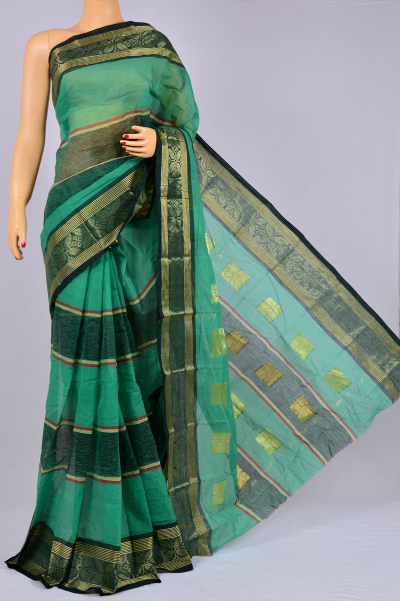 Fern Color Handwoven Bengal Handloom Pure Cotton Tant, Zari Border Saree (without Blouse) - KC250181