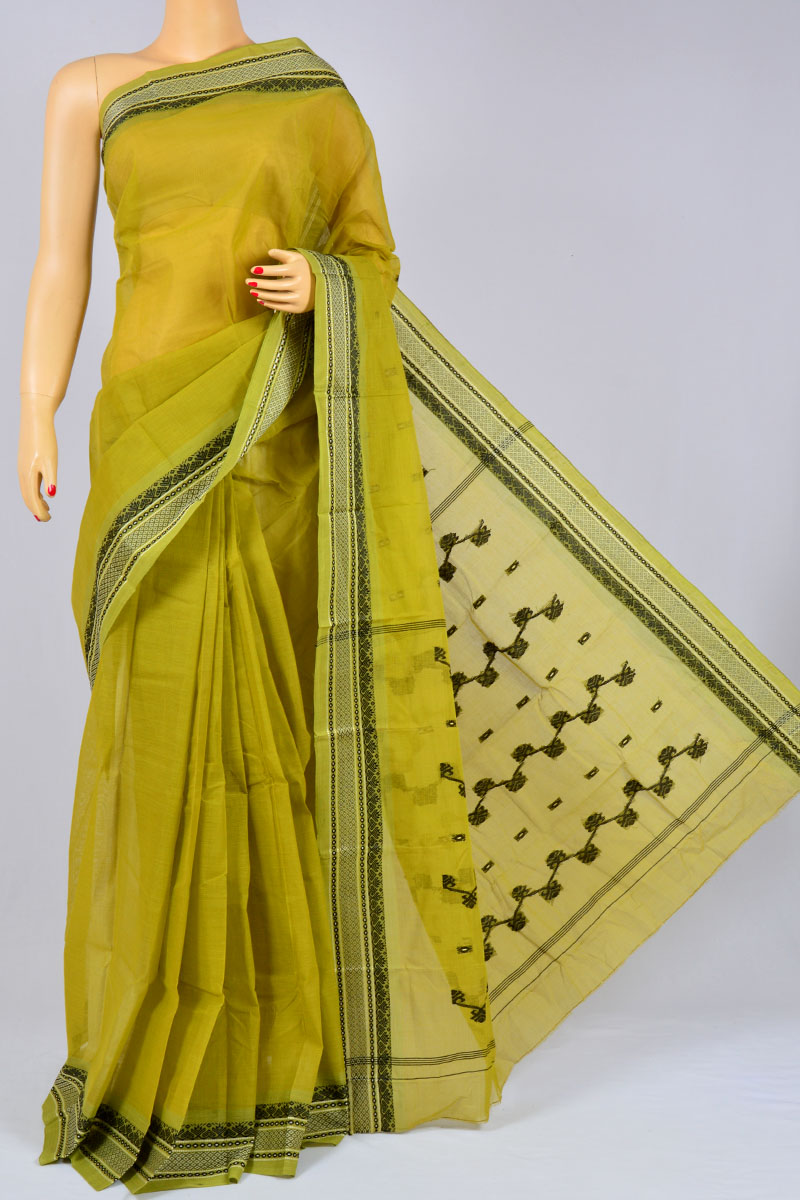 Corn Color Handwoven Bengal Handloom Pure Cotton Tant Saree (without Blouse) - KC250183