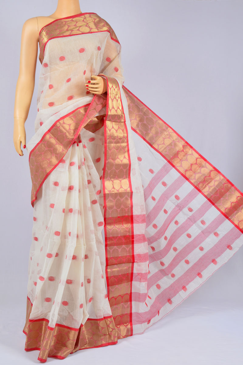 White Color Handwoven Bengal Handloom Pure Cotton Tant, Zari Border Saree (without Blouse) - KC250184
