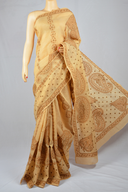 Fawn Hand Embroidered Lucknowi Chikankari Saree (With Blouse - Cotton) SS250016
