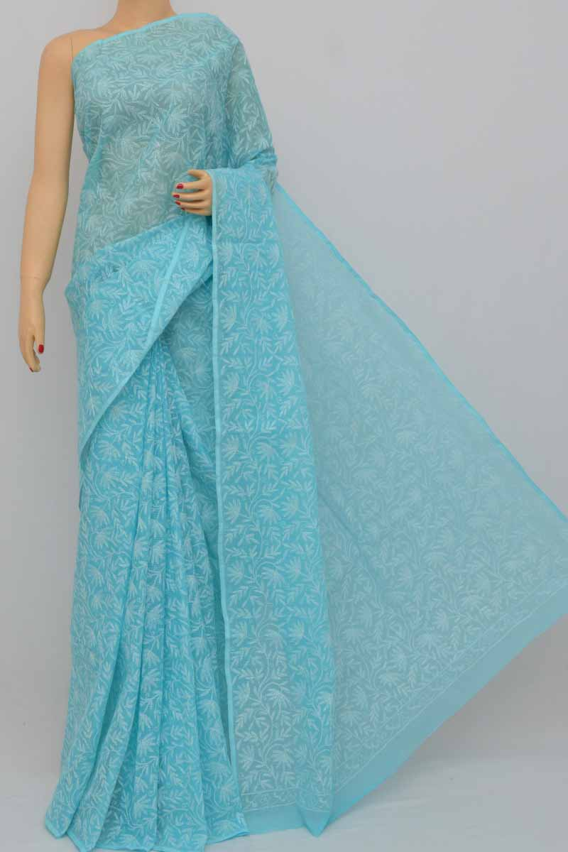 Blue Color Allover Kota Cotton Tepchi Work Hand Embroidered Lucknowi Chikankari Saree (without Blouse - Cotton) Kc250385
