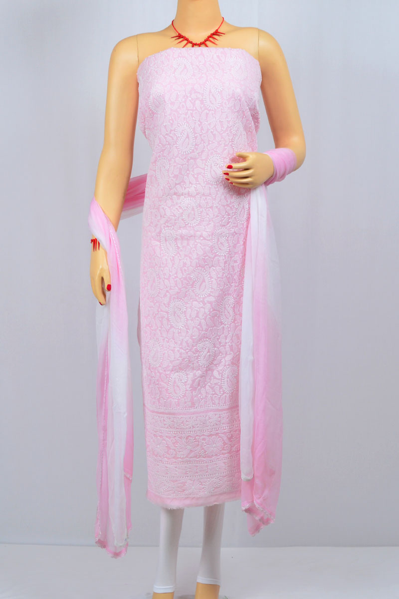 Pink Color Hand Embroidered Lucknowi Chikankari Suit (Cotton) - MCSU400027