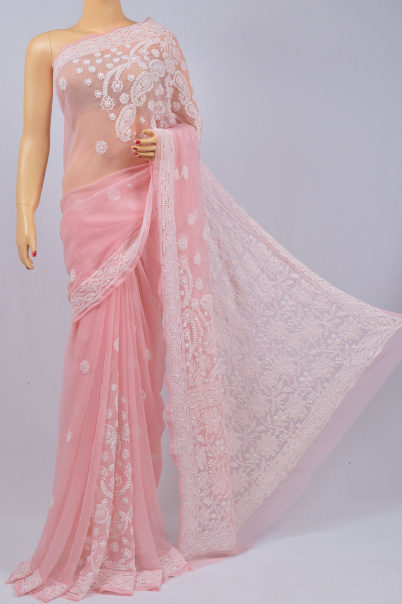 Flamingo Color Bhandani Skirt Hand Embroidered Lucknowi Chikankari Saree (With Blouse - Georgette) KC250113