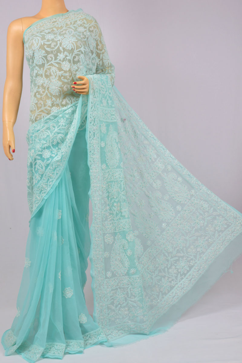 Sea Green Half Jaal and Mukaish Work Hand Embroidered Lucknowi Chikankari Saree (With Blouse - Georgette) KC250114