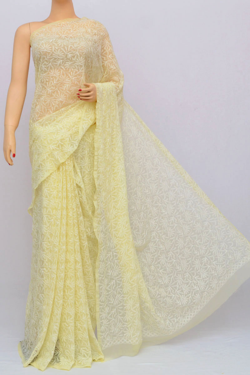 Cream Color Tepchi Work Hand Embroidered Lucknowi Chikankari Saree (with Blouse - Georgette) Hs250231