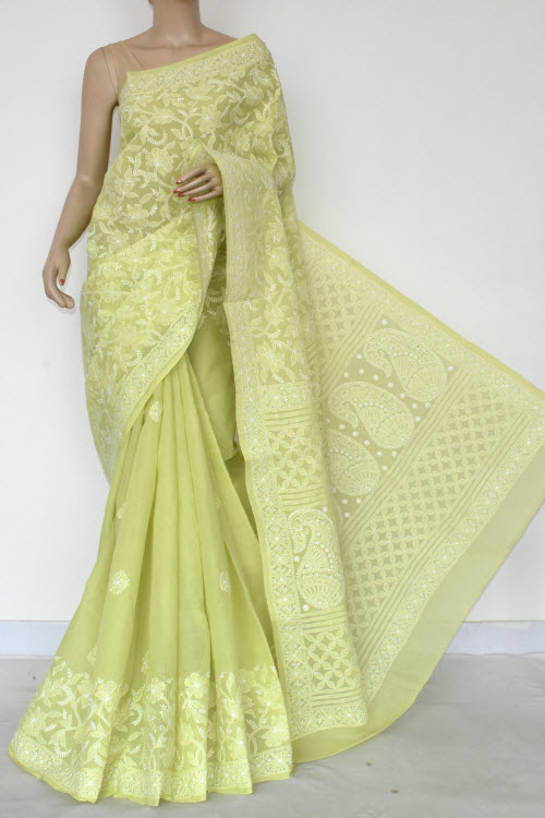 Chartreuse Hand Embroidered Lucknowi Chikankari Saree (Cotton-With Blouse) 14747