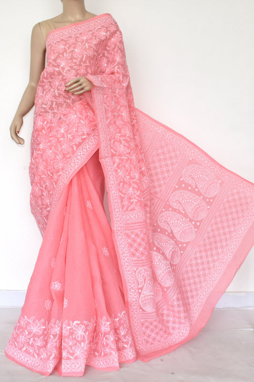 Pink Hand Embroidered Lucknowi Chikankari Saree (Cotton-With Blouse) 14753