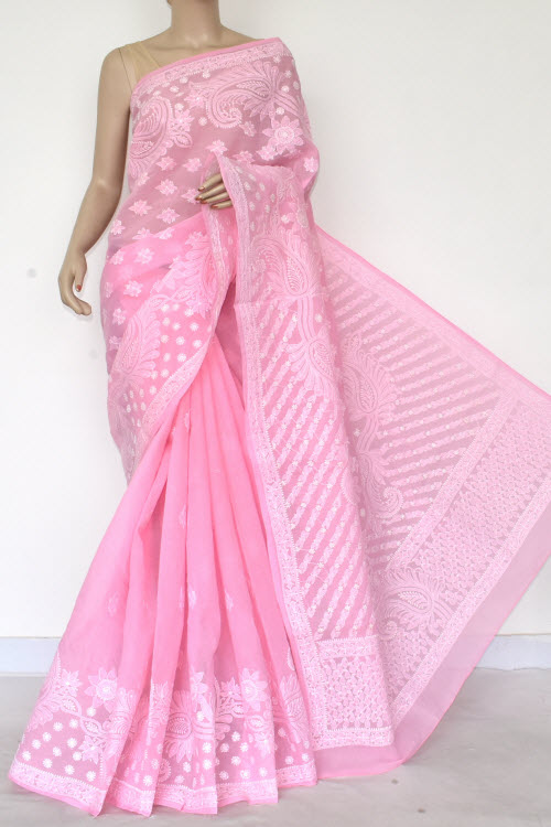 Pink Hand Embroidered Lucknowi Chikankari Saree (Cotton-With Blouse) 14768