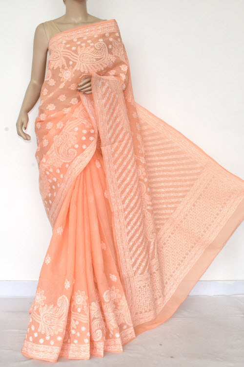 Orange Hand Embroidered Lucknowi Chikankari Saree (Cotton-With Blouse) 14770