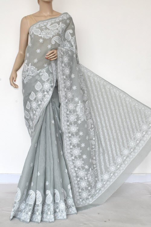 Grey Hand Embroidered Lucknowi Chikankari Saree (Cotton-With Blouse) 14867