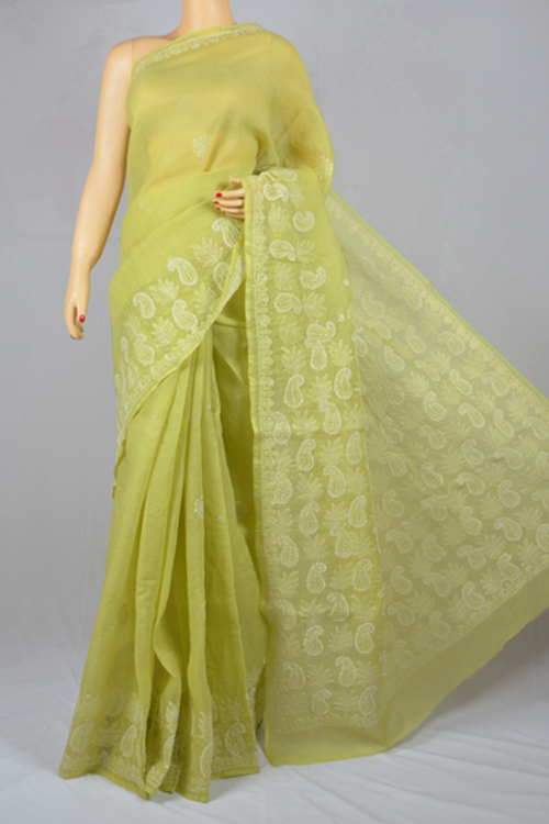 Light green Hand Embroidered Lucknowi Chikankari Saree (With Blouse - Cotton) MC250020