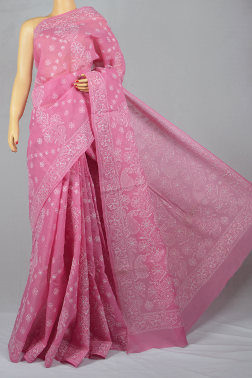Pink Hand Embroidered Lucknowi Chikankari Saree (With Blouse - Cotton) MC250021