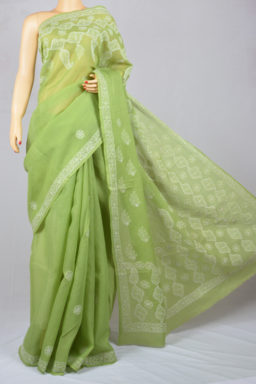 Light green Hand Embroidered Lucknowi Chikankari Saree (With Blouse - Cotton) SS250022
