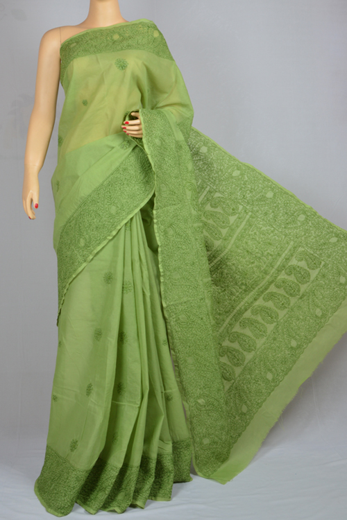 Dark green Hand Embroidered Lucknowi Chikankari Saree (With Blouse - Cotton) MC250025