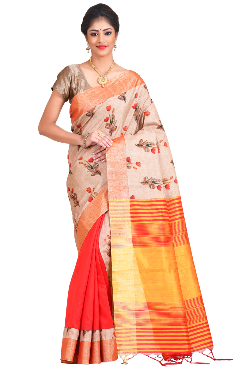 Beige-red Color, Chanderi Printed Zari Patta Saree
