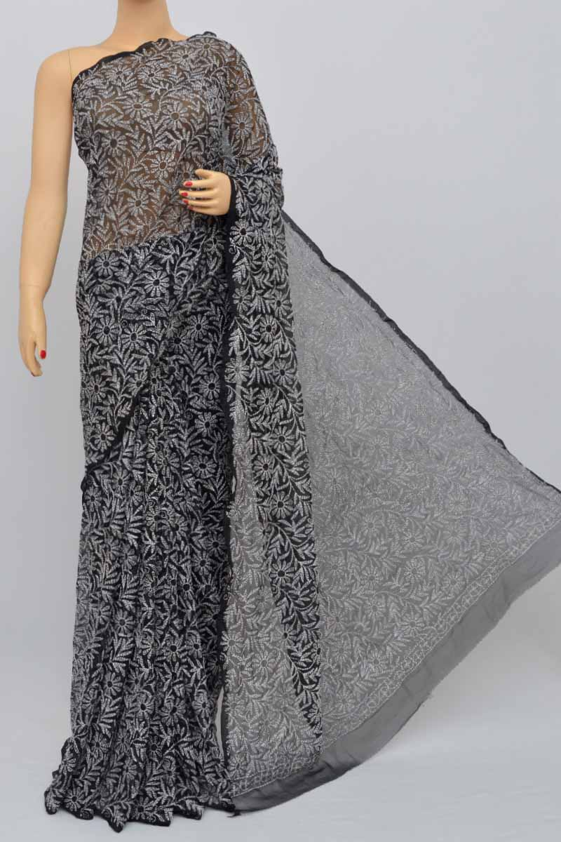 Black Color Tepchi Work Hand Embroidered Lucknowi Chikankari Saree (With Blouse - Georgette) KC250470