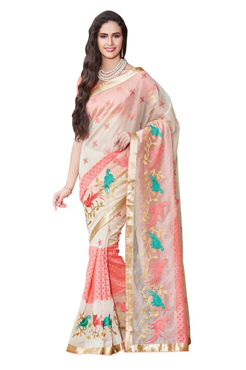 Pink patola fabric panel, zari and resham  embroidery, zari patch border work.