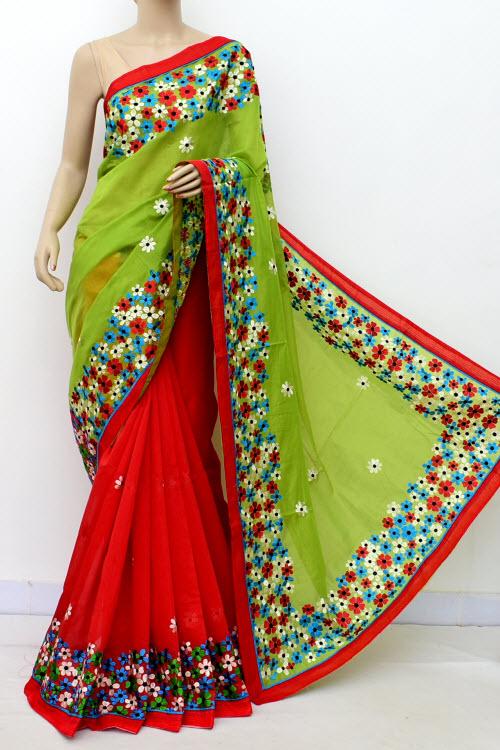 9bae59fddb8 Mazenta   Green Colour Chanderi Cotton Saree (With Blouse) 16324