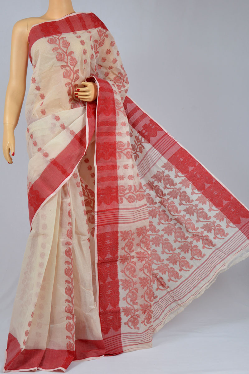 Warm Ivory Color Cotton Tant Bengal Handloom Dhakai Jamdani Allover Saree (Without Blouse) - SM250139