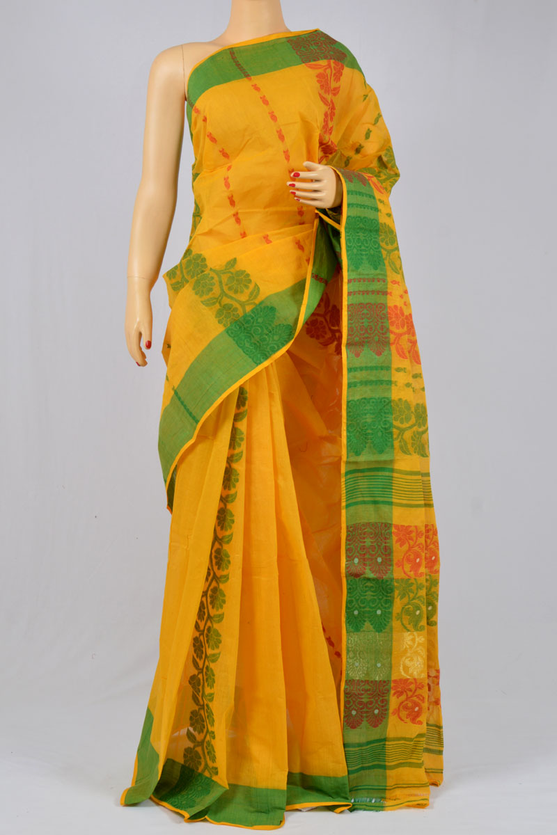 57cb5a9537 ... Honey Color Cotton Tant Bengal Handloom Dhakai Jamdani Allover Saree  (Without Blouse) - SM250142 ...