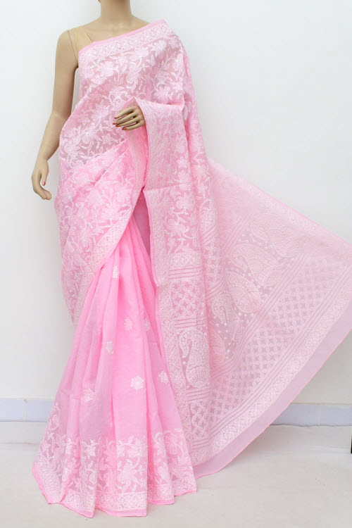 Pink Allover Hand Embroidered Lucknowi Chikankari Saree (Cotton-With Blouse) 14749