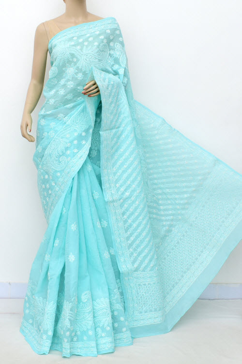 Blue Allover Hand Embroidered Lucknowi Chikankari Saree (Cotton-With Blouse) 14772