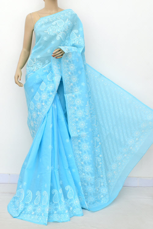 Blue Allover Hand Embroidered Lucknowi Chikankari Saree (Cotton-With Blouse) 14783