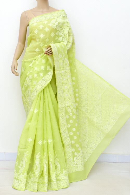 Lightgreen Allover Hand Embroidered Lucknowi Chikankari Saree (Cotton-With Blouse) 14792