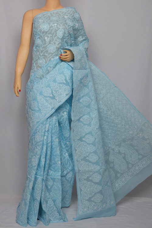 Lightsky Blue Hand Embroidered Lucknowi Chikankari Saree (With Blouse - Cotton) MC250034