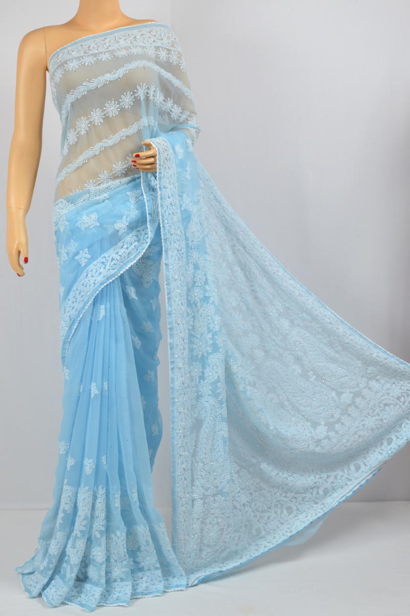 Sky Blue Heavy Palla Mukaish Work Hand Embroidered Lucknowi Chikankari Saree (With Blouse - Georgette) HS250063