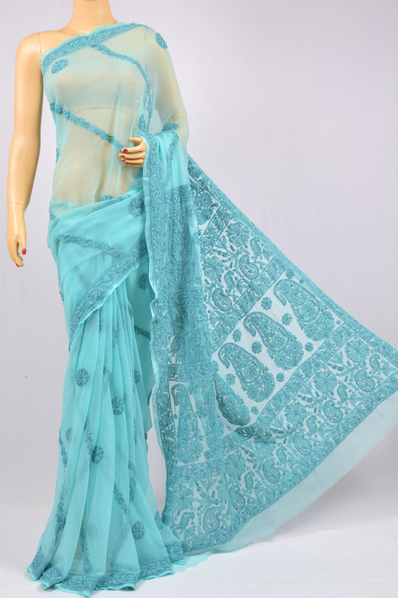 Arctic Blue Full Chhadi and Mukaish Work Hand Embroidered Lucknowi Chikankari Saree (With Blouse - Georgette) KC250120