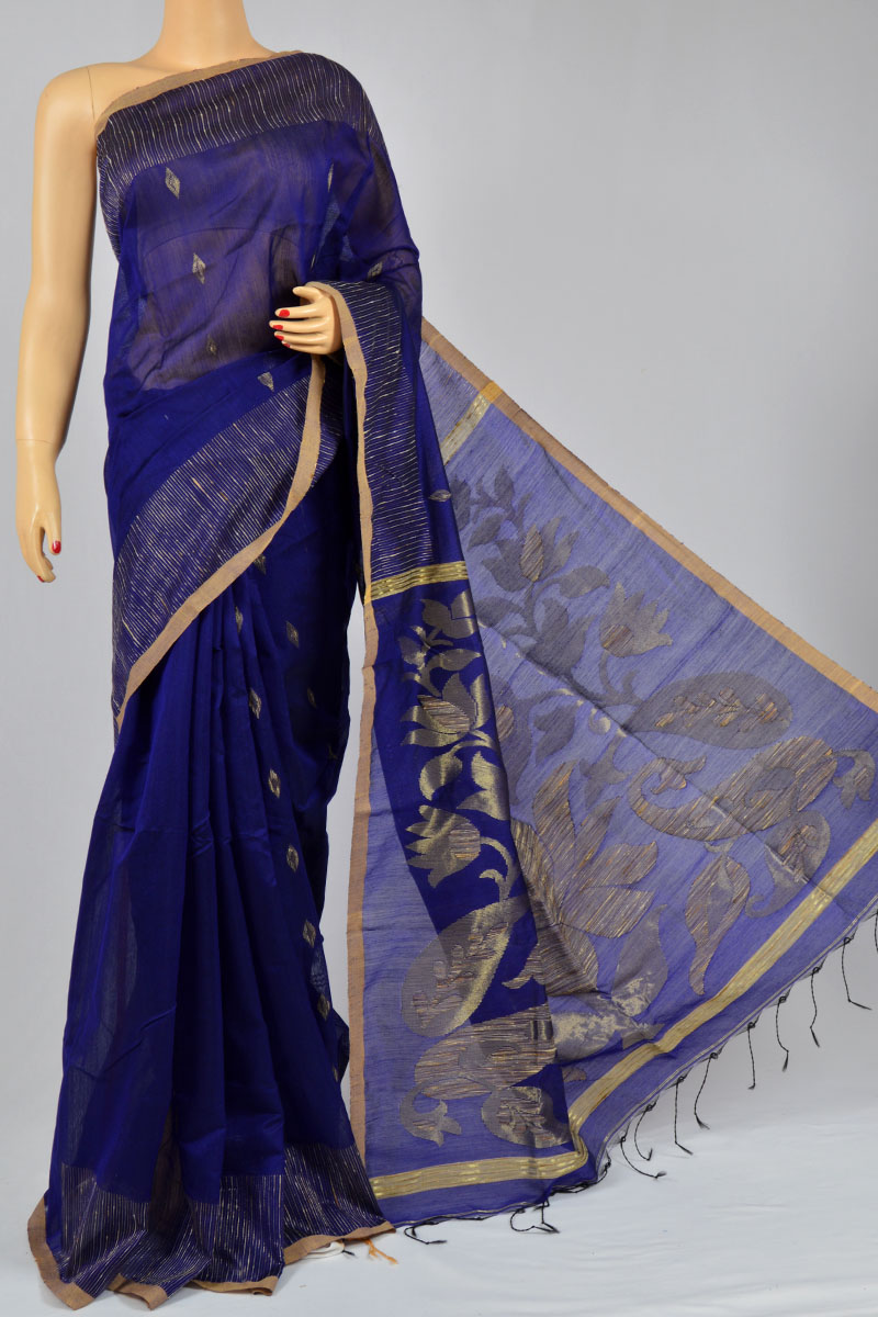 Navy Blue Color Bengal Handloom Ghicha Silk Pattern Designed Pallu Saree (With Blouse) - KC250135