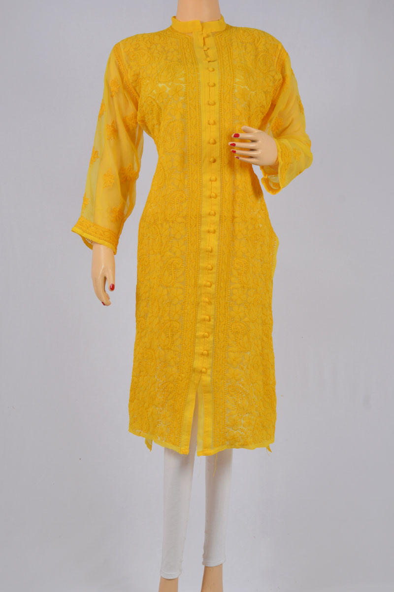 Yellow Color Hand Embroidered Lucknowi Chikankari Kurti (Georgette) - MCK20150