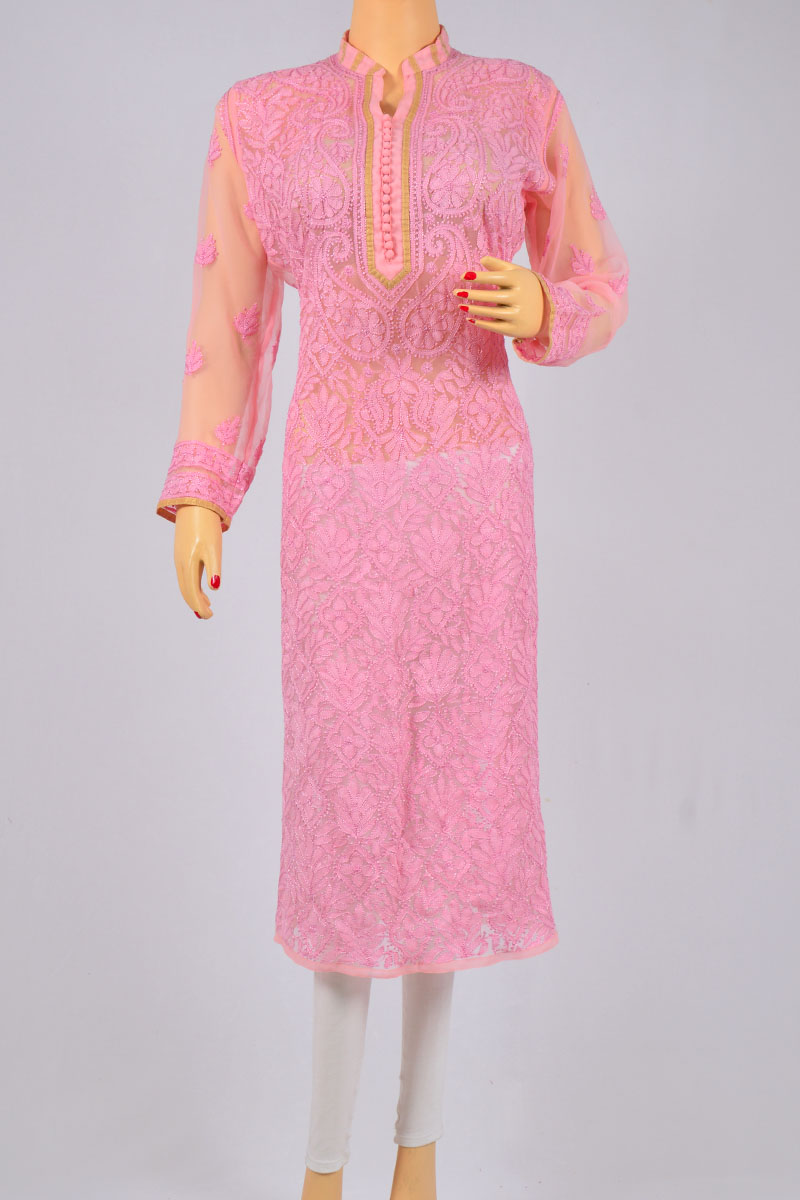 Pink Color Hand Embroidered Lucknowi Chikankari Kurti (Georgette) - MCK250151