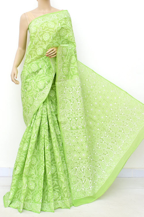 Green Allover Hand Embroidered Lucknowi Chikankari Saree (Cotton-With Blouse) 14848