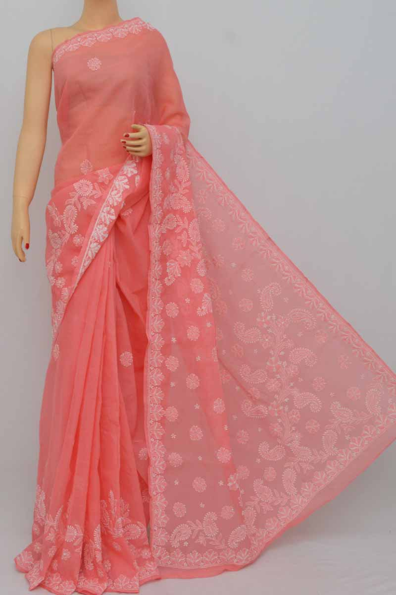 Gazri Pink Color Skirt Palla WorkHand Embroidered Lucknowi Chikankari Saree (With Blouse - Cotton) MY250397