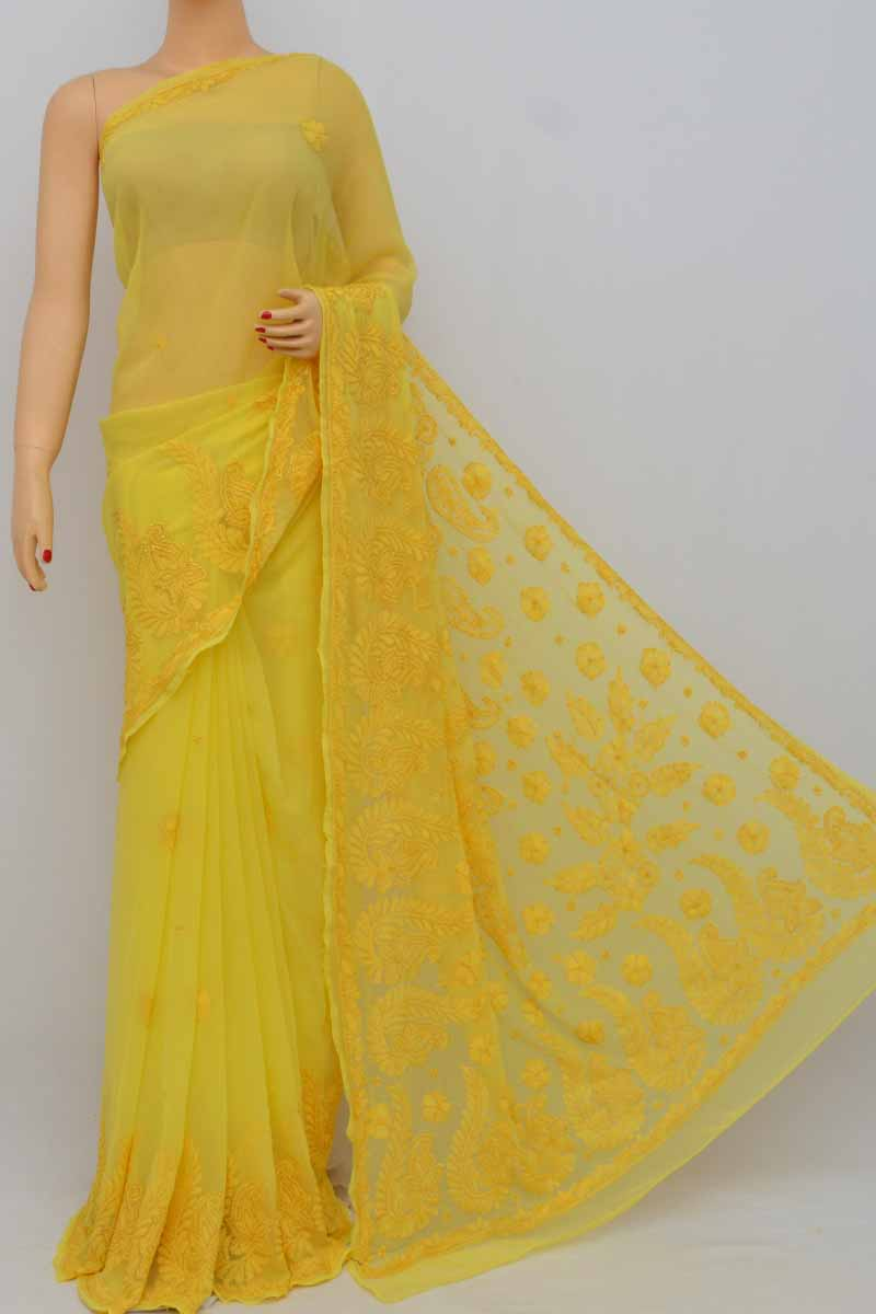 Yellow Color, Hand Embroidered Lucknowi Resham Work Chikankari Saree (with Blouse - Georgette) My250398