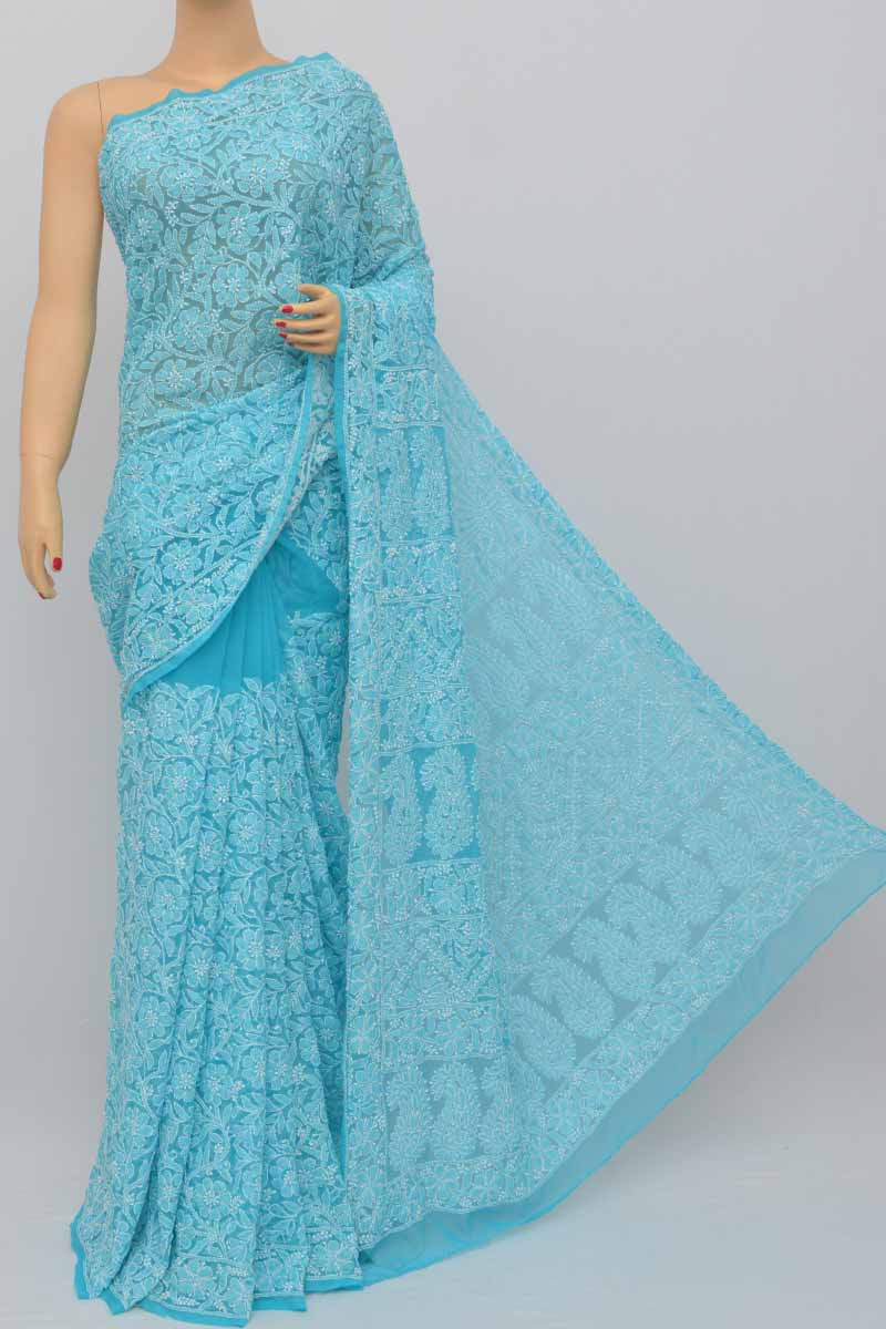 Blue Color, Allover Jaal Heavy Palla Hand Embroidered Lucknowi Chikankari Saree (With Blouse - Georgette) MC250441