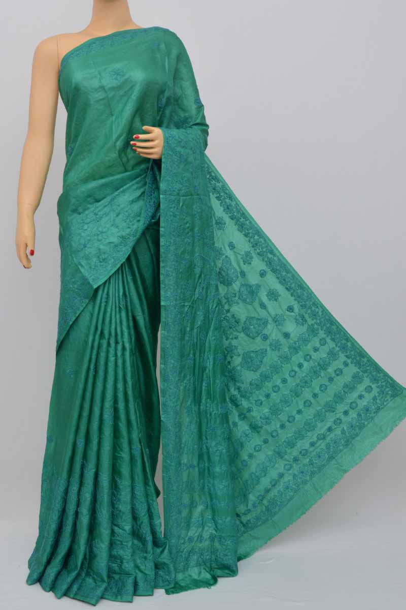 Darkgreen Color Tusser Silk Lucknowi Chikankari Saree (With Blouse) MC250443