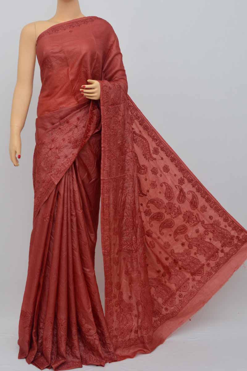 Winered Color Tusser Silk Lucknowi Chikankari Saree (With Blouse) HS250444
