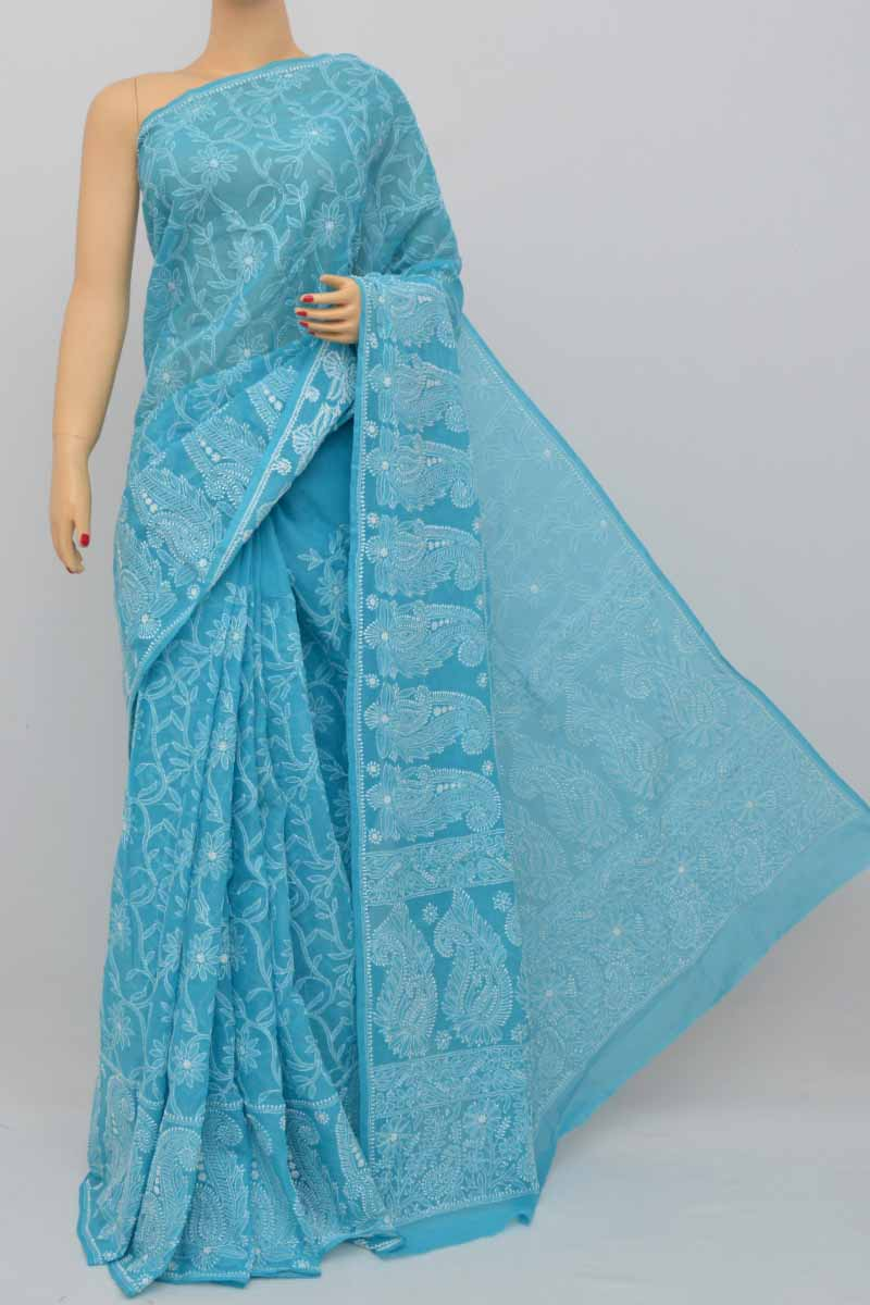 Blue Color Hand Embroidered Allover Lucknowi Chikankari Cotton Saree (With Blouse - cotton) MC250437