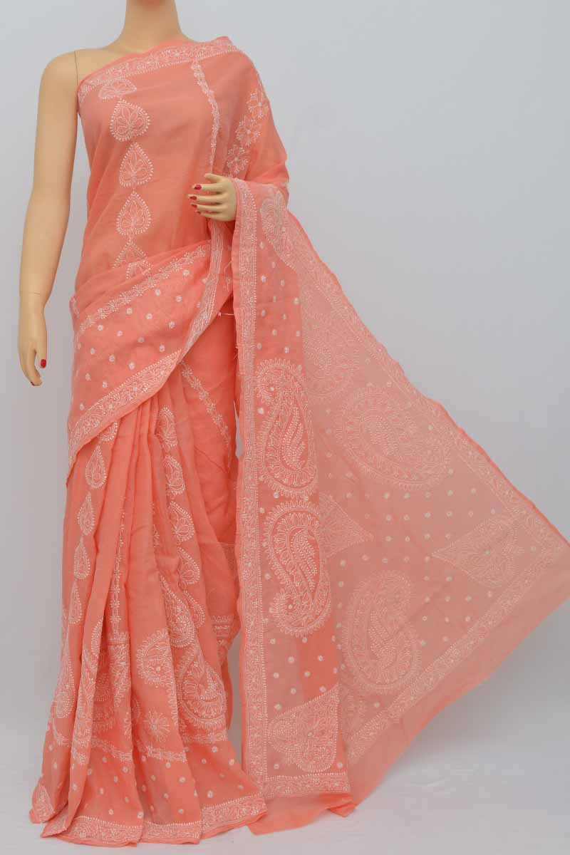 Peach Color Hand Embroidered Lucknowi Chikankari Saree (With Blouse - Cotton) HS250438