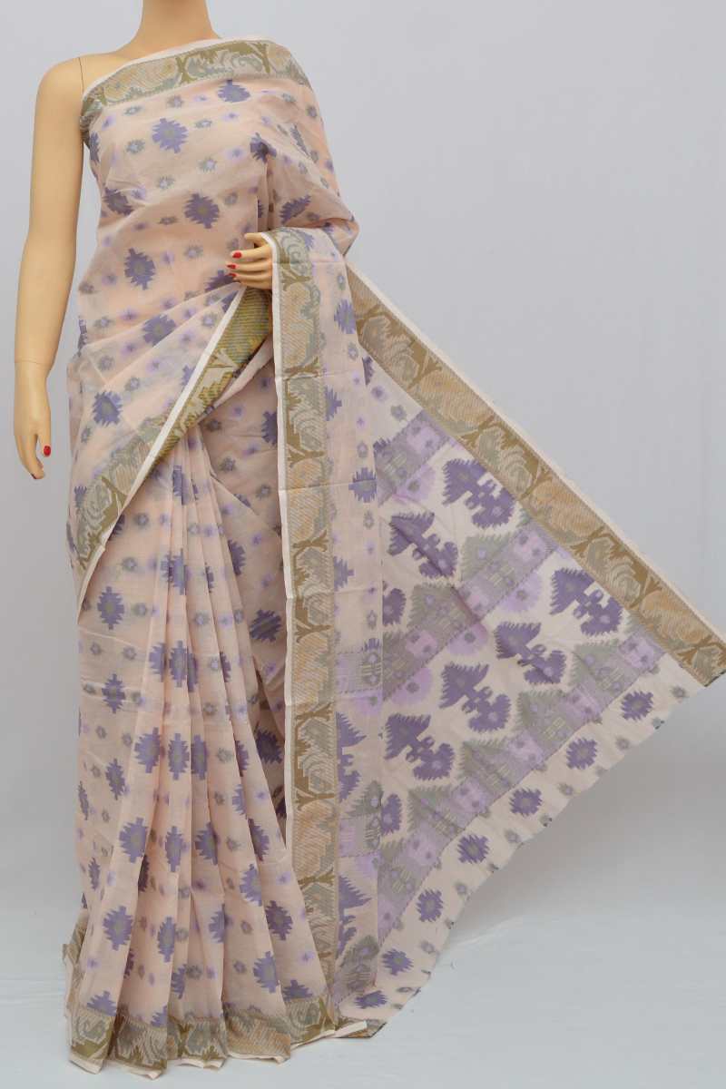 Beige Color Cotton Tant Bengal Handloom Dhakai Jamdani Allover Saree (Without Blouse) - MY250323